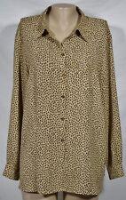 ELISABETH LIZ CLAIBORNE Tan Brown Animal Print Shirt Blouse 16 Long Sleeves