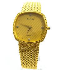 Elgin Schweizer Herren Vergoldet Luxus 30mm Quarz Armbanduhr Uhr Watch wie NEU!