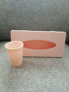 Vintage Light Pink Plastic Tissue Box Holder And Matching Ransburg Cup Scallop