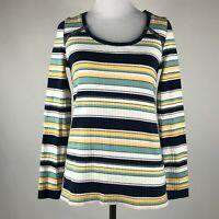 Postmark Anthropologie Women Ribbed Knit Stripe Long Sleeve Top sz XS