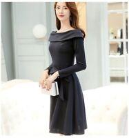 Women Long Sleeve Skirt Strapless Shoulder Tie Waist Slim Dress Casual Party New