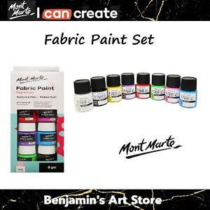 AU Mont Marte 8pc Fabric paint set 20ml Textile Permanent Basic Colours Craft