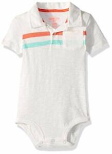 OshKosh B'Gosh Striped Polo Baby Bodysuit One Piece White Multi Size 24 Months