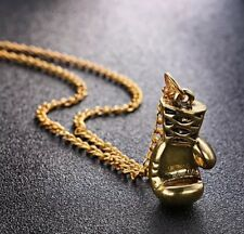 New Boxing Glove Pendant Chain Necklace Charm Gold Rocky Mens Gift UK Seller