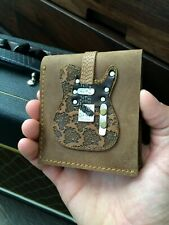 Men's Leather Wallet Bi-fold Brown Embossed Paisley Single Cut Electric Guitar