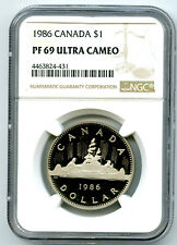 1986 $1 CANADA VOYAGEUR PROOF DOLLAR NGC PF69 ULTRA CAMEO EXTREMELY RARE