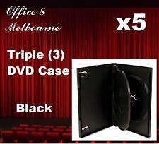 5 x Triple Black DVD Case Triple DVD Covers - Holds 3 Discs
