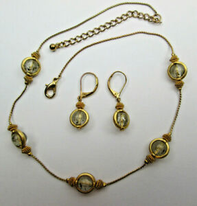 Vintage Necklace and Earring set of Costume Jewelry Copper Gold Color with Beads