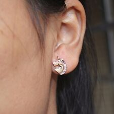 Cute Unicorn Ear Stud Earrings - Gift - Present - Silver