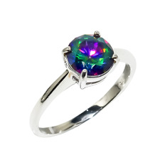 Engagement Ring Rainbow Mystic Topaz Gem Pure 925 Sterling Silver Solitaire Band