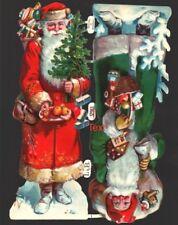 originaler Oblatenbogen 2 geprägte Weihnachtsmänner L&B 32963 - DIE CUT SCRAPS