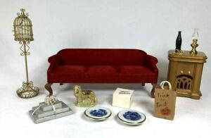 1:12 Scale VINTAGE MINIATURE LOT Red Couch Bird Cage Lamp Radio Accessories