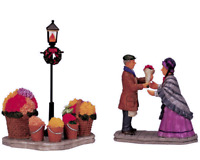 Lemax 2001 Flower Vendor Carole Towne #12537 Retired Rare Collectable Set Of 2