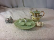 Vtg Collectible 10 Piece 1996 Precious Moments Noah's Ark Ceramic Mini Tea Set