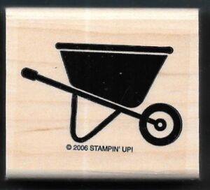 WHEELBARROW WHEEL Garden Gear Yard Cart Country Stampin' Up! 2006 RUBBER STAMP