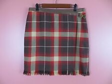 SK06546- JONES NEW YORK Woman Seasonless Wool Wrap Skirt Metal Buckle Plaids 14