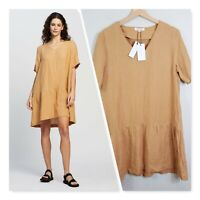[ AERE ] Womens Casual Linen Dress in Camel NEW + TAGS  | Size AU 10 or US 6