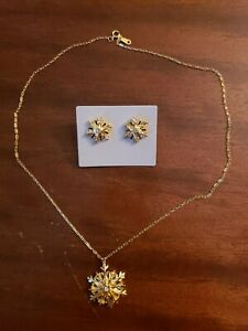 """Gold color 18"""" necklace and pierced earrings set"""