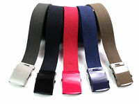 NEW RETRO HIGH QUALITY STRONG CANVAS WEBBING BELT WITH COLOURED BUCKLE UPTO 52""
