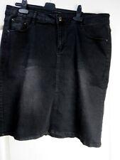 Black Stretch Denim Skirt Size 22 EU 50 Plus Dark Pockets Casual Knee Length