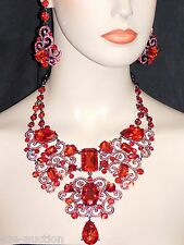 GLAMOROUS RED RUBY AB IRIDESCENT RHINESTONE CRYSTAL NECKLACE & DROP EARRINGS SET