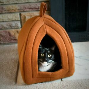 Cat Pet Igloo Cave Enclosed Covered Tent House Removable Cushion Bed Hideout