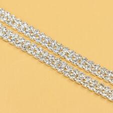 1 Yard 2 Rows Crystal Banding Rhinestone Wedding Cake Topper Bridal Jewelry Trim