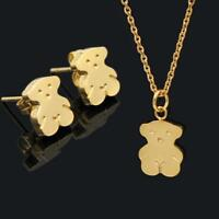 Golden Silvery Bear Pendant Stainless Steel Necklace Earrings Women Jewelry Sets