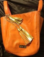 Deux Lux JUNO Handbag Tote Pumpkin Orange Gold Tassels Vegan Leather