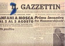 Y5  IL GAZZETTINO N. 175 ANNO 75 DEL 25/7/1961 MISSIONE MEDIATRICE DELL'ONU