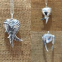 "925 Sterling Silver HEART Locket Opening Angel Wings Pendant and 18"" Inch Chain"