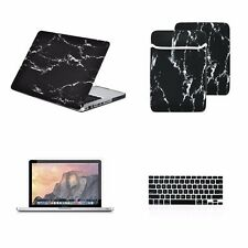 """4 IN 1 Black Marble Case for Macbook Pro 13"""" A1278 + Keyboard Cover + LCD + Bag"""