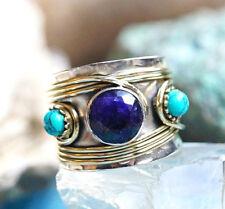 Silberring 54 Saphir Handarbeit Breit Blau Silber Ring Antik Verspielt Messing