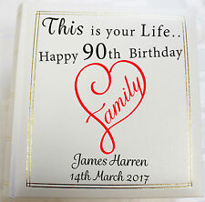 Personalised Photo Album, Memory/Guest Book ,90th Birthday,This Is Your Life