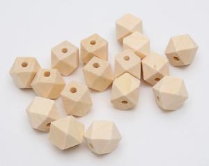 60 Holzkugeln Polygon 20mm basteln Schmuck Holzperlen Halskette Armband