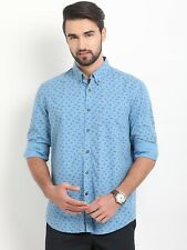 Shirt Indian Terrain Men Blue Regular Fit Printed Casual spread collar long