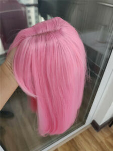AU 14inch Cosplay wig with bangs Heat resistant hair Daily use Pink