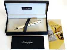 MONTEGRAPPA DUCALE MANDELA BALLPOINT PEN IN WHITE WITH PALLADIUM TRIM - NEW