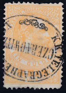 SELTEN 1873 Telegraphenmarke 1 Gulden Buchdruck sauber Gestempelt € 850,--