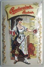 Budweiser Budvar Barmaid with Steins embossed steel sign (hi 3020)
