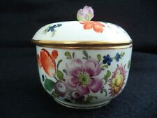 Meissen style porcelain painted dresser jar powder box Dresden Flowers roses