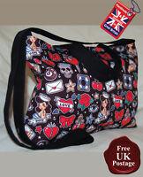 Rockabilly Zip Top Tote Bag, Handmade Rockabilly Bag, Choose Your Colour