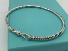David Yurman Classic Cable 3mm Sterling Silver Diamond Buckle Bracelet