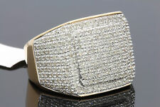 1.60 CARAT MENS YELLOW GOLD FINISH REAL DIAMOND ENGAGEMENT WEDDING PINKY RING