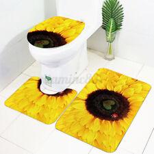 US 3PCS Sunflower Bathroom Bath Mat Non-Slip Cover Rug+Lid Toilet Cover Doormat