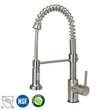 Modern Brushed Nickel Spring Pull Out Single Handle Sprayer Kitchen Sink Faucet