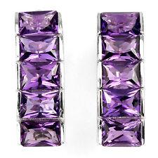 Sterling Silver 925 Baguette Cut Genuine Natural Deep Purple Amethyst Earrings