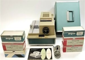 Vintage Argus 500 Automatic Color Slide Projector With Slide Changers!