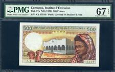 **ND (1976) COMOROS 500 FRANCS PICK #7A  PMG 67 EPQ  VERY NICE NOTE PEASE LQQK!*
