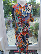 Kim & Co Oriental Fantasy Mandarin Collar Keyhole Dress Orange Multi Large BNWT